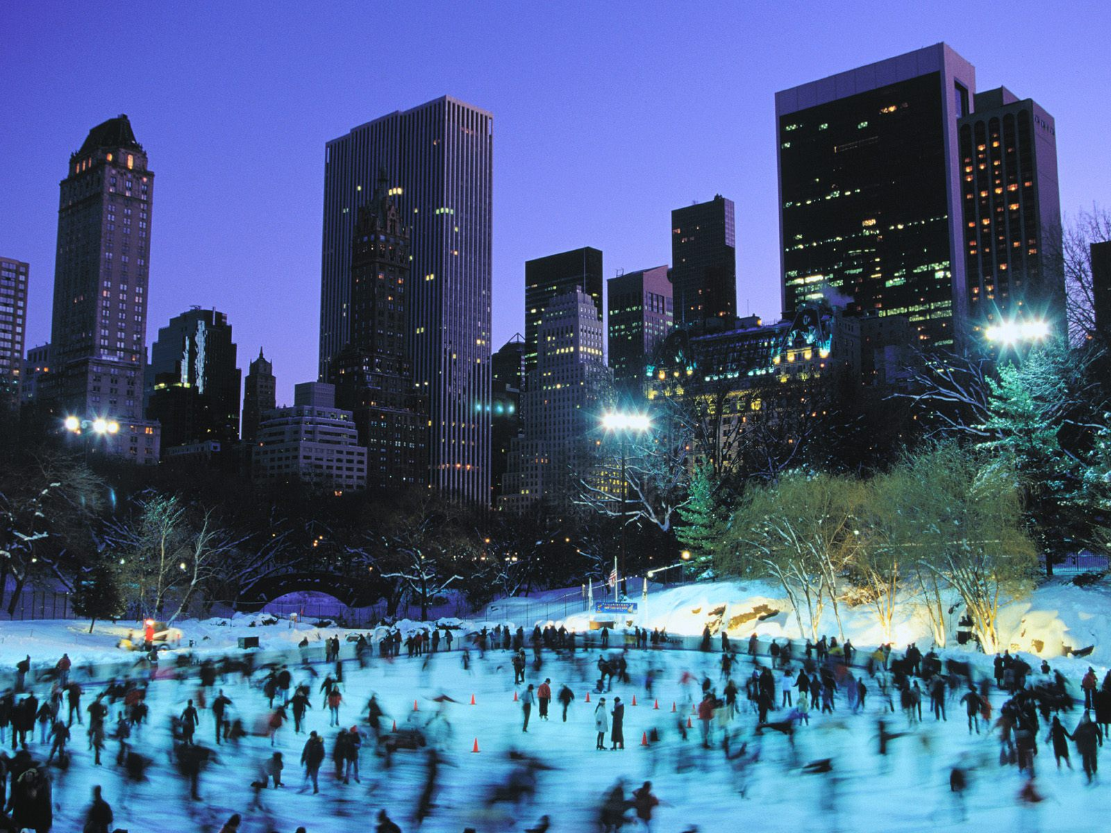 Skaters at wollman rink central park new york city ecard