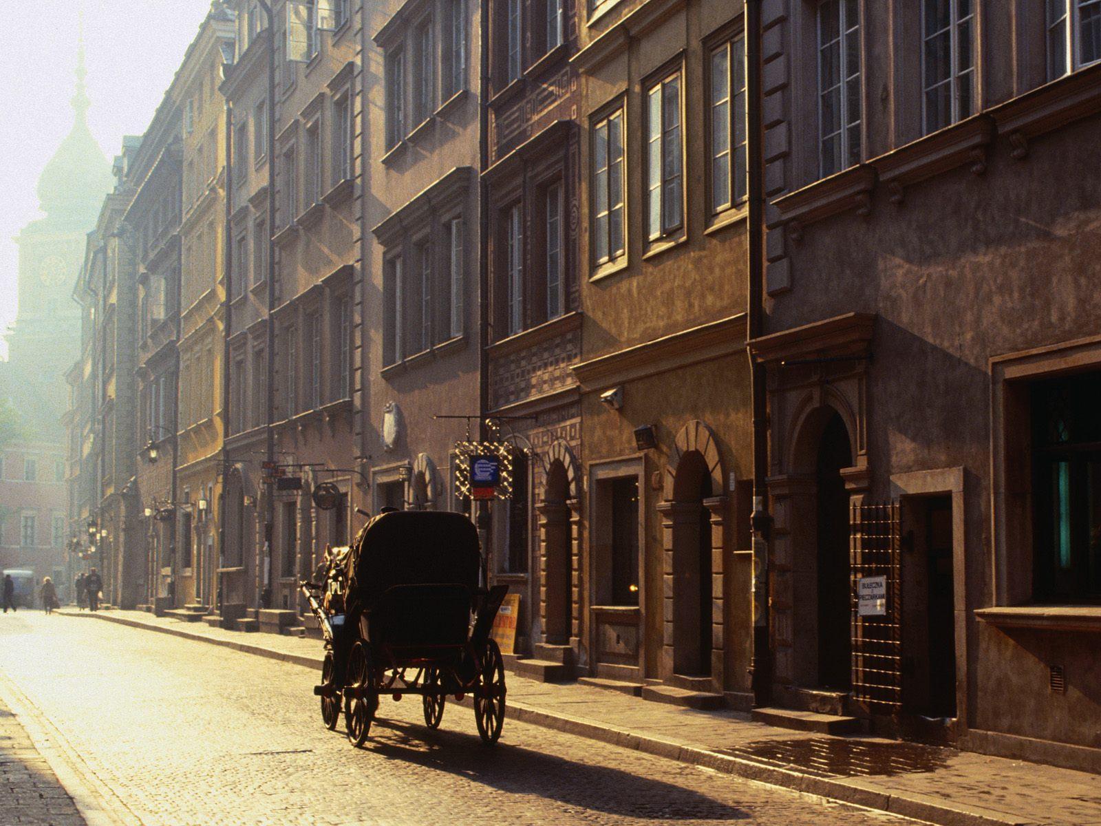 Old City Street Buildings Arial