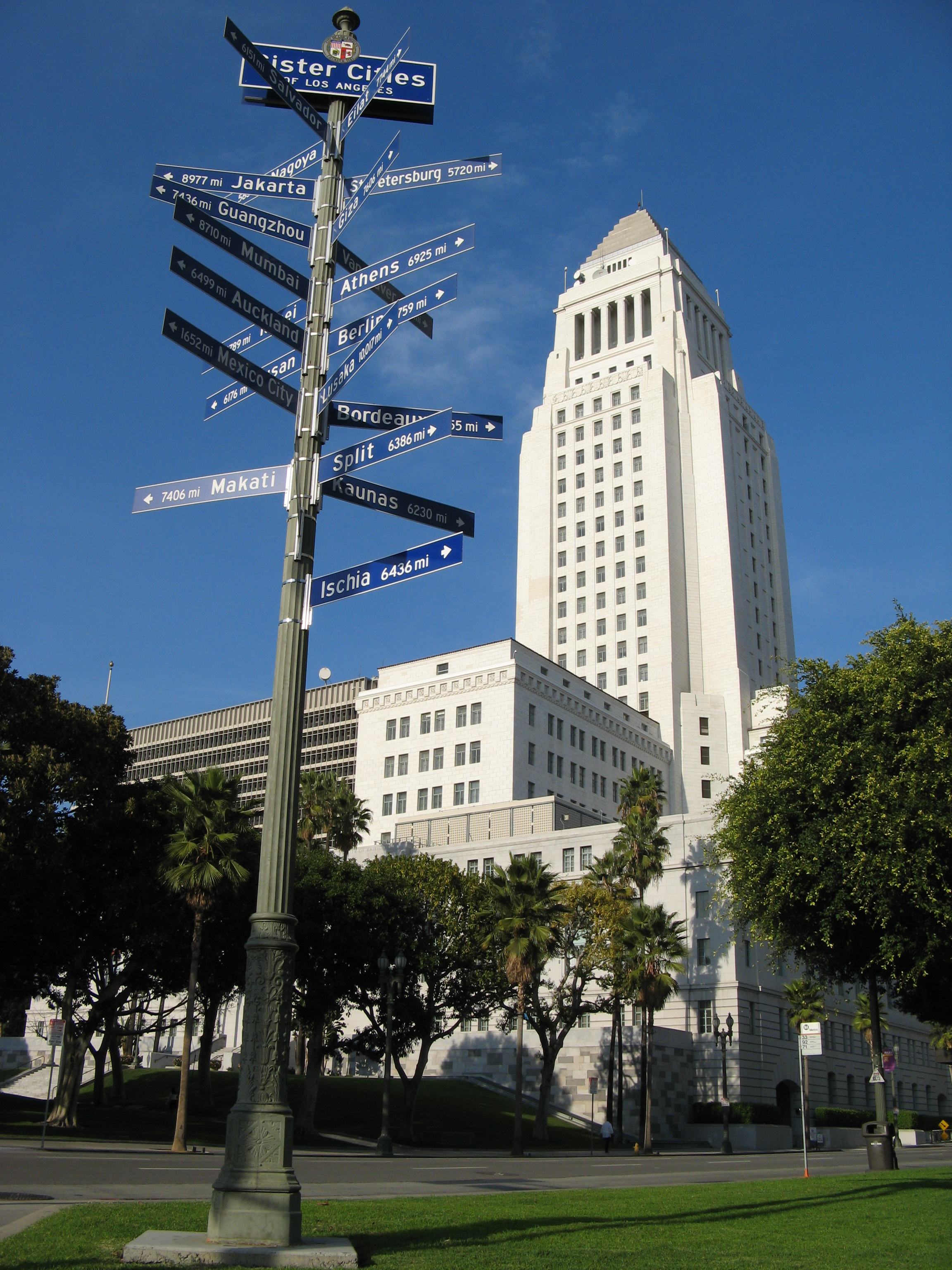 Los Angeles City Hall with sister cities