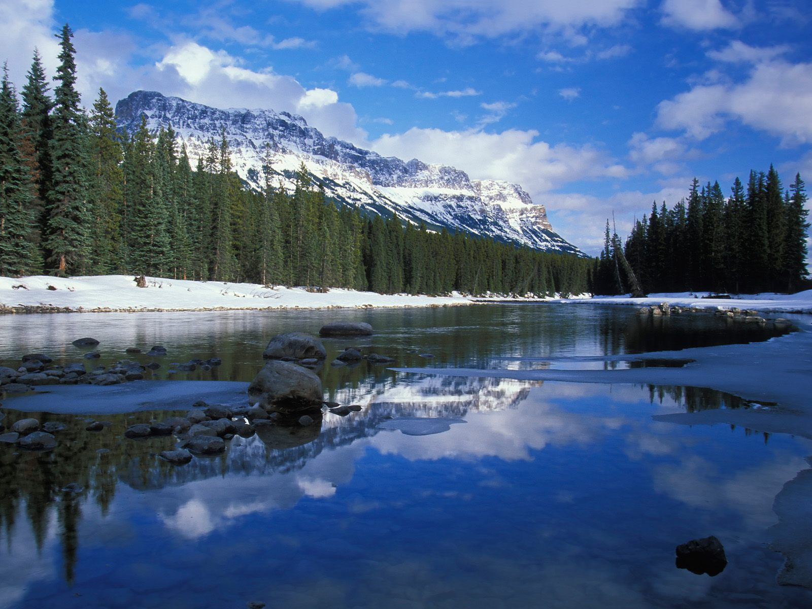 Bow River and Castle Mountain Alberta Canada photo or wallpaper