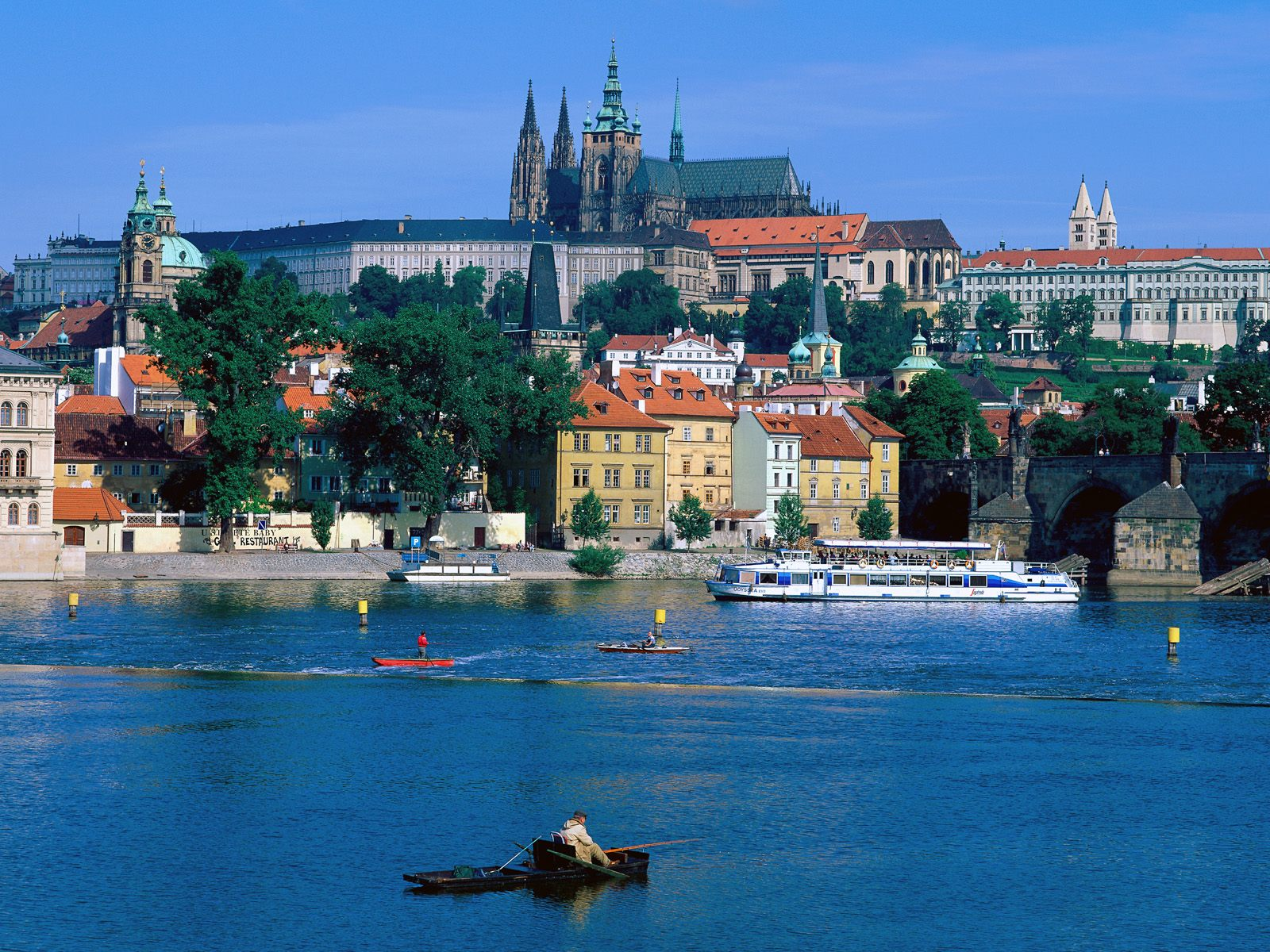 Sightseeing by a River Prague Czech Republic