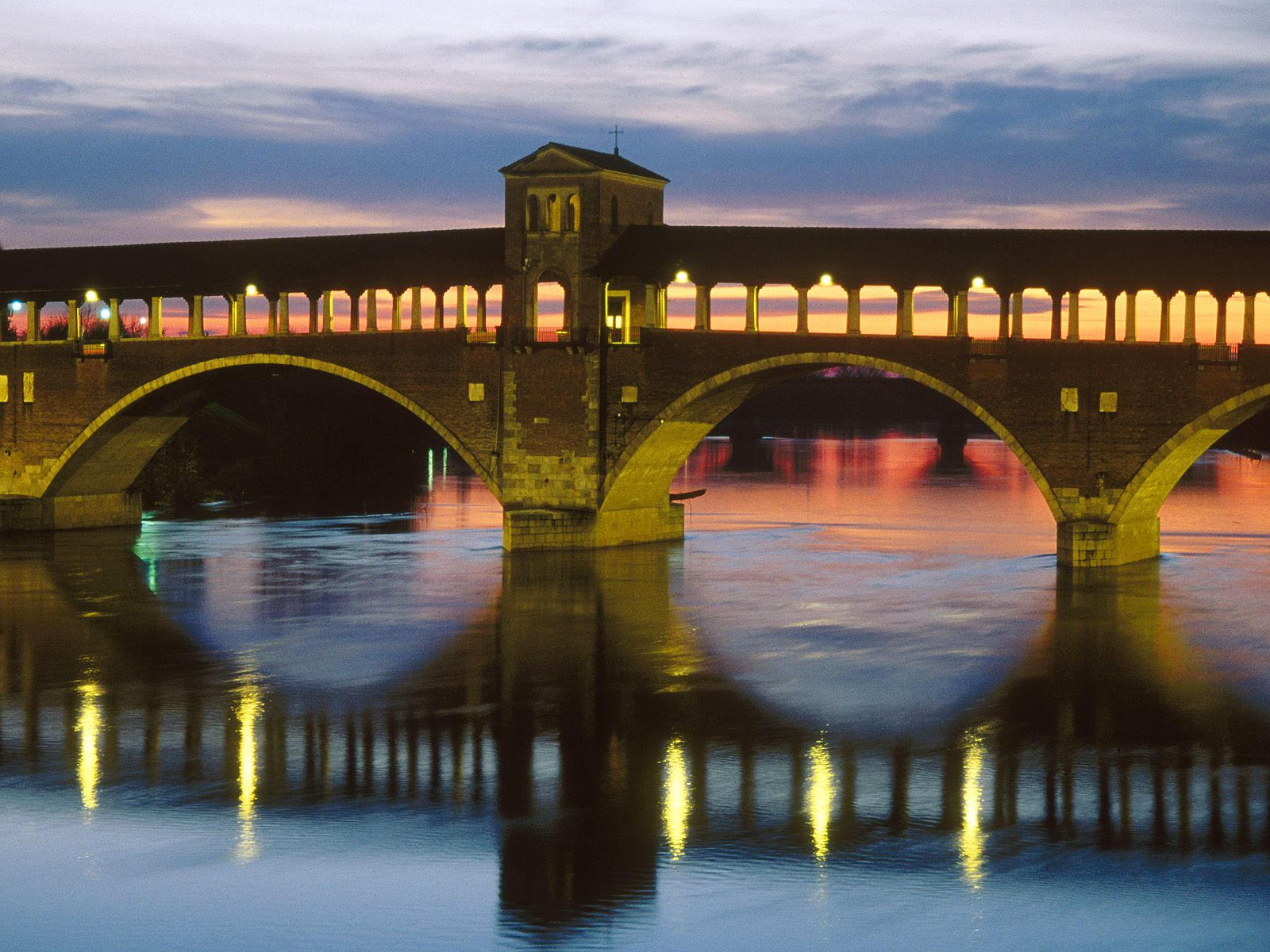 Covered Bridge Over the Ticino River Pavia Italy