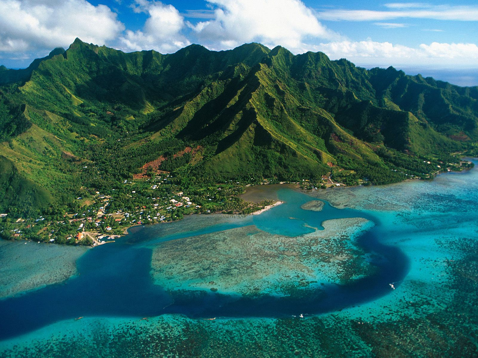 Aerial View of Moorea Island French Polynesia