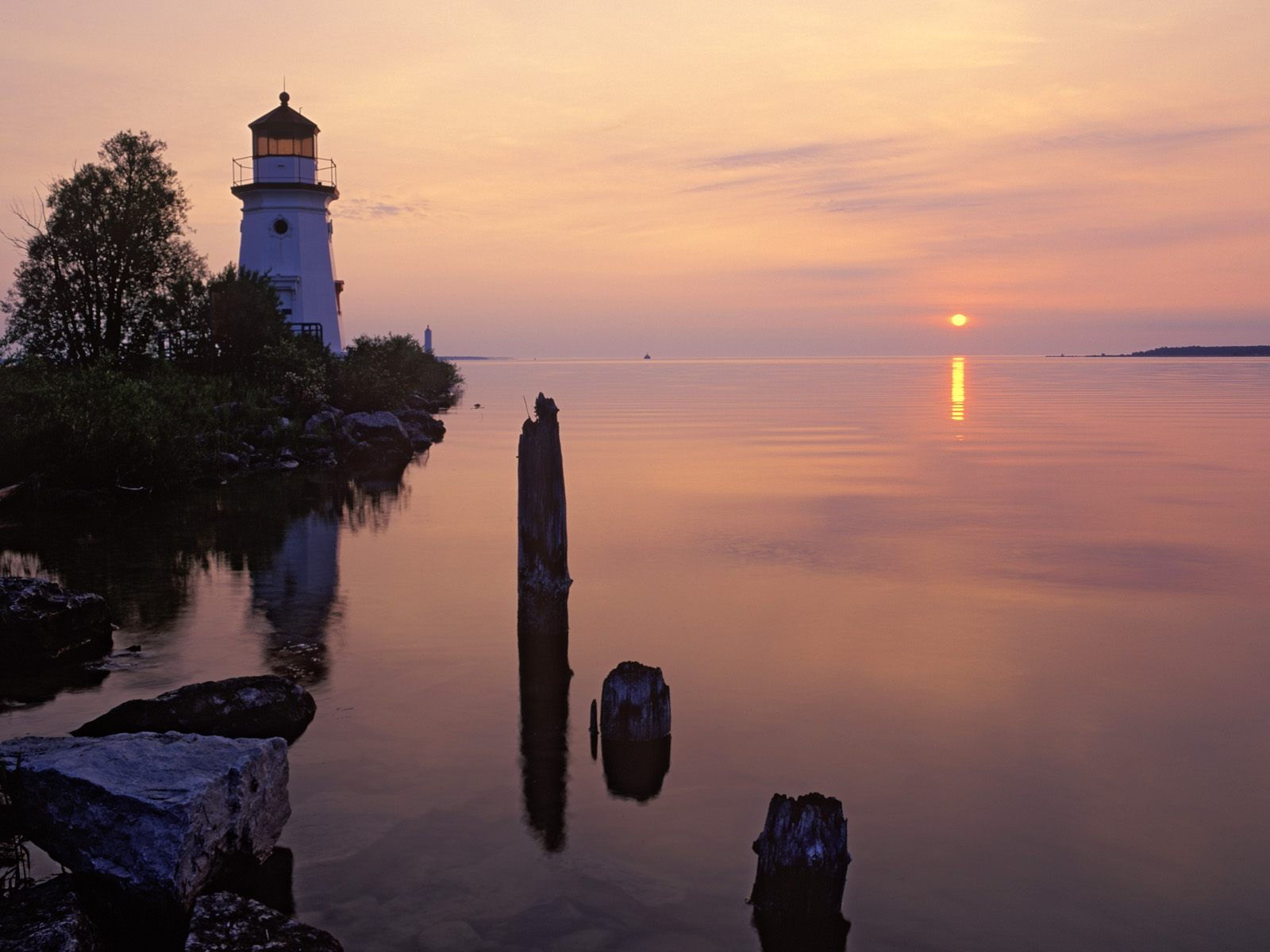 Cheboygan Range Light Silhouetted at Sunrise Cheboygan Michigan
