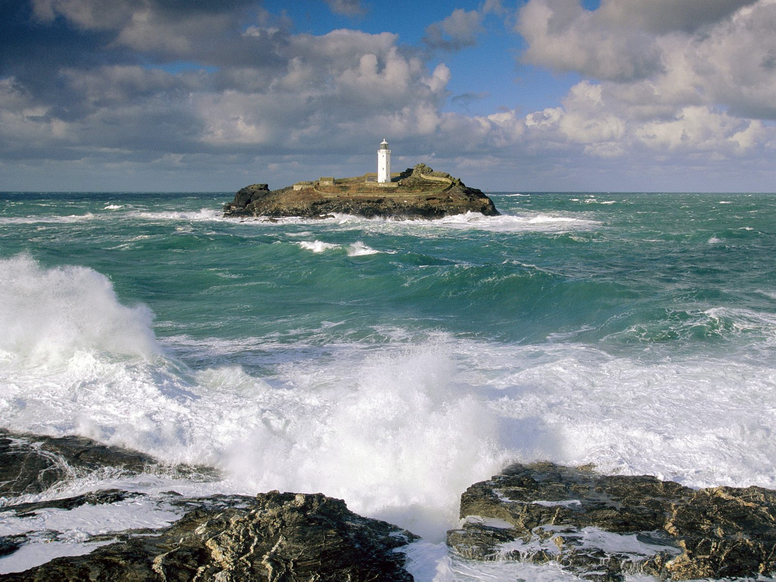 Godrevy Lighthouse and Rough Seas Cornwall England