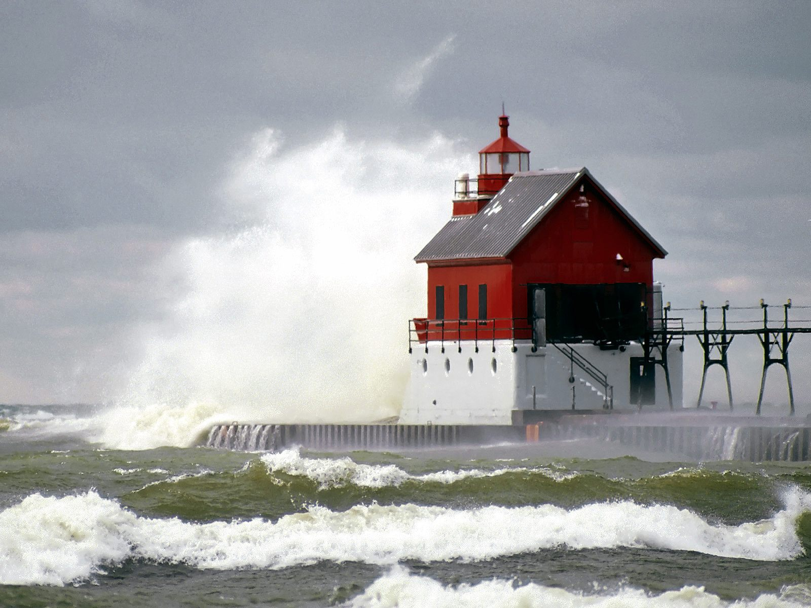 High Tide Grand Haven Lighthouse Michigan