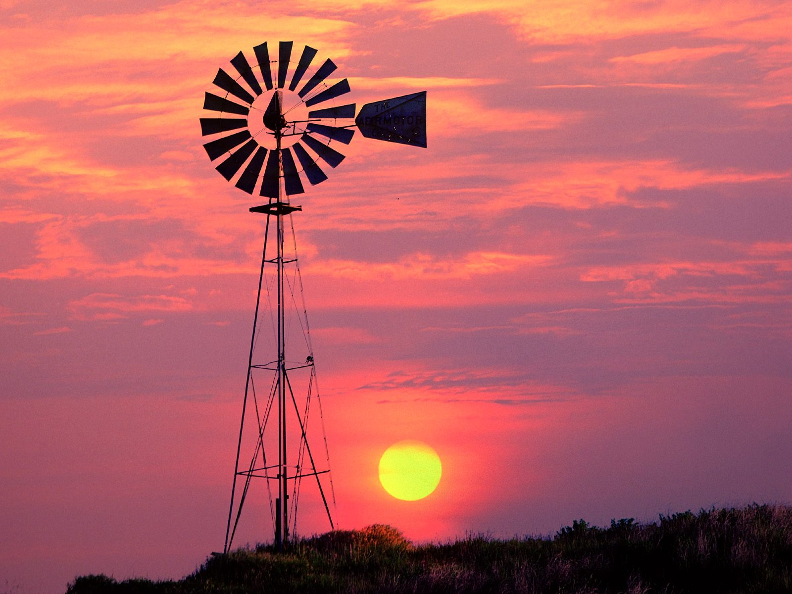 Windmill at Sunset Near Colfax Washington