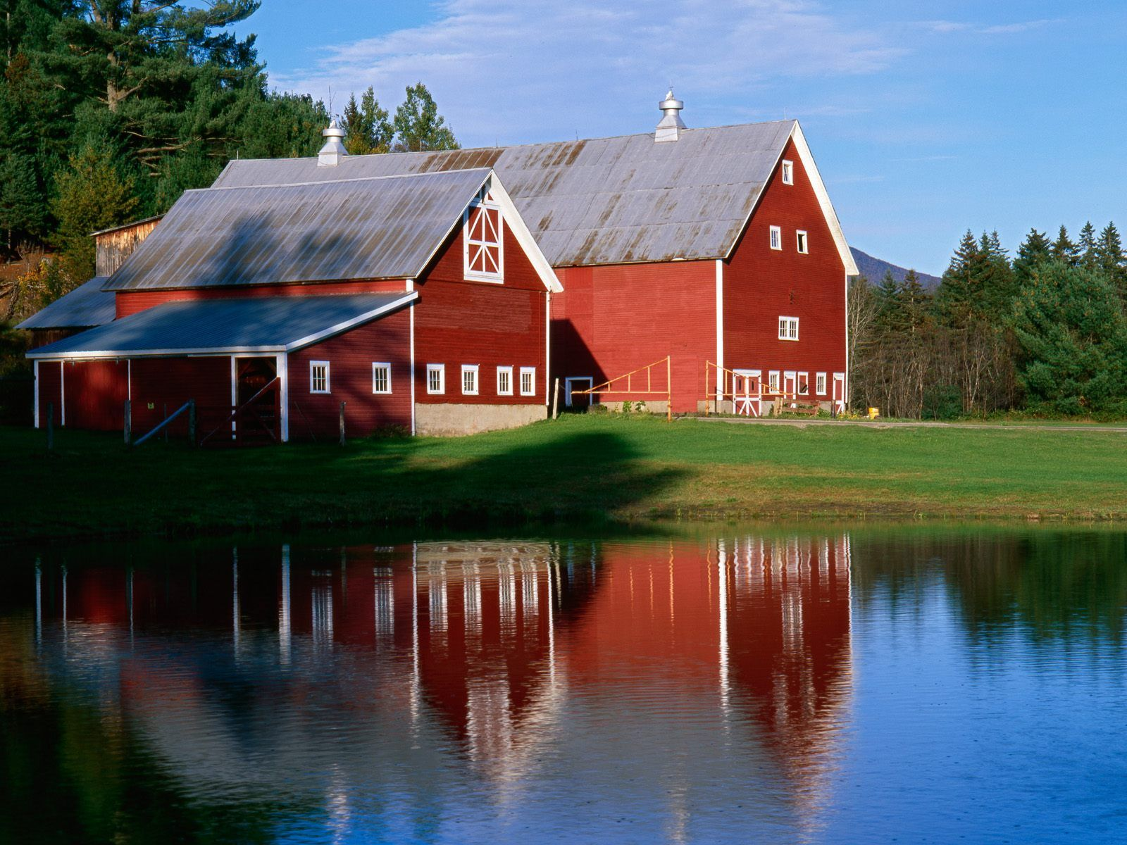 Twin Barns At Sunset Vermont Postcard Twin Barns At