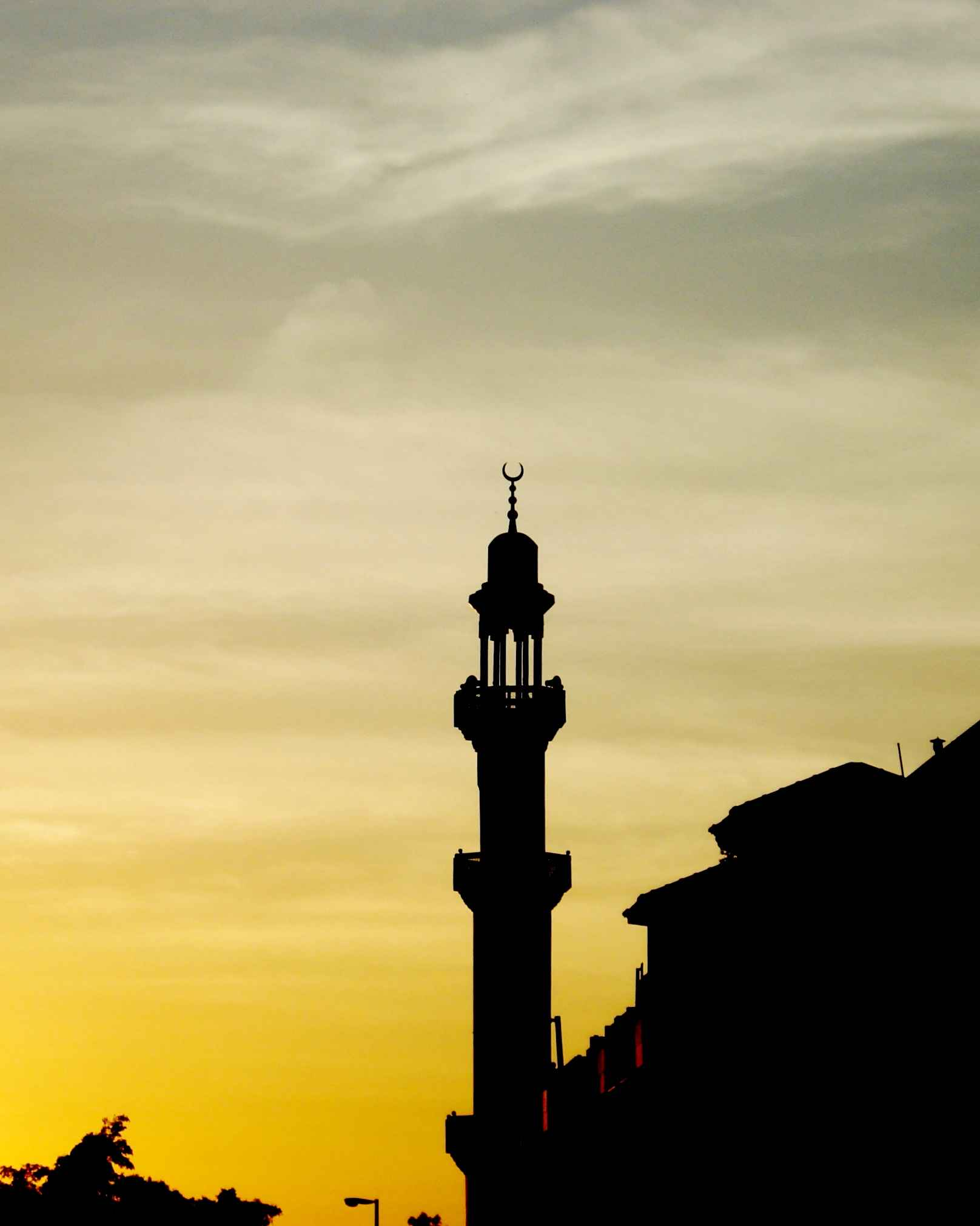 A view of a mosque in the city of Jeddah at the the sun set in Saudi Arabia