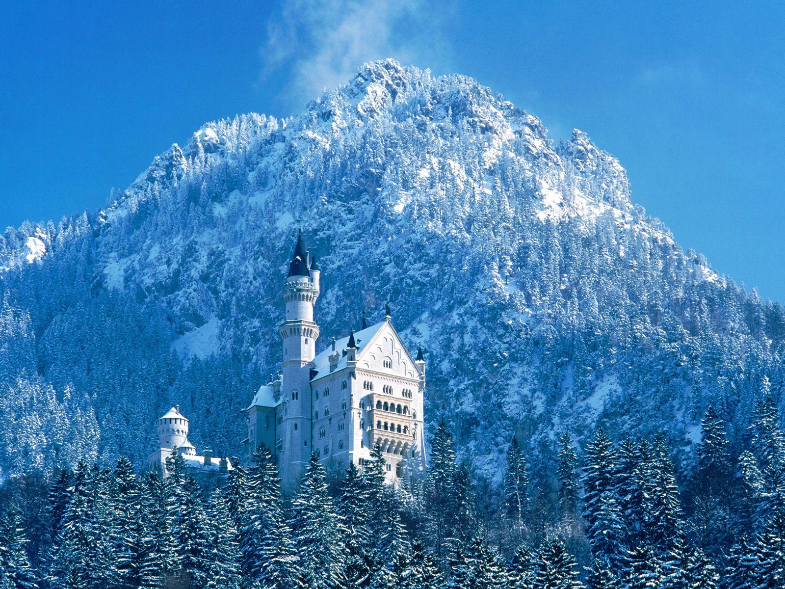 Neuschwanstein Castle Bavaria Germany - snow photo or wallpaper
