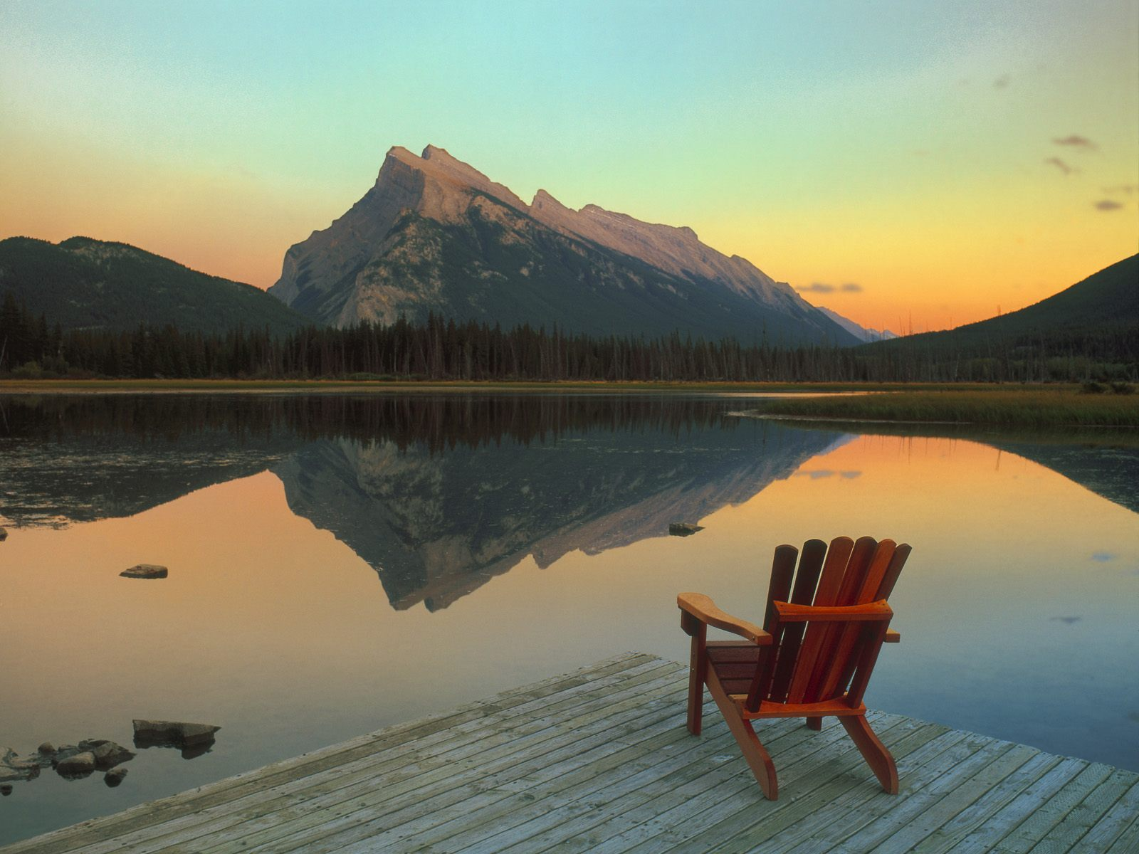 Vermillion Lake Escape Mount Rundle Reflected Banff National Park Canada