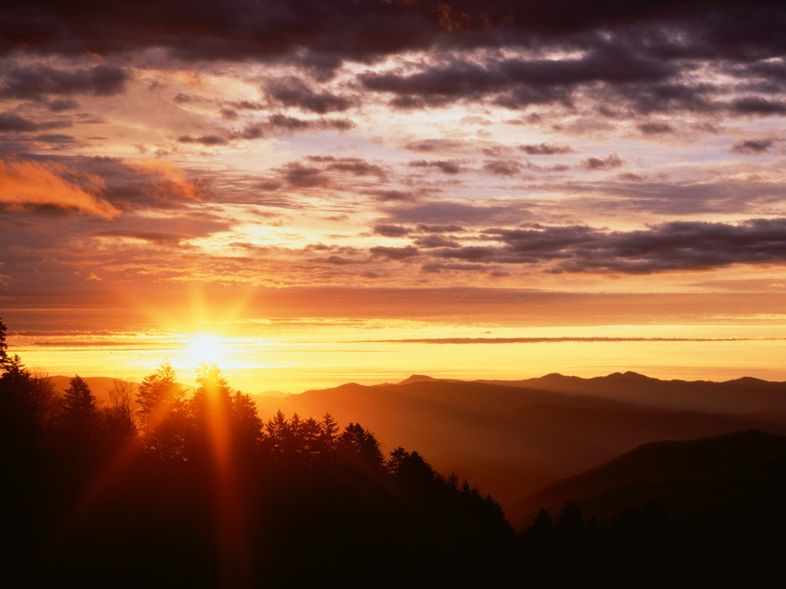 Sunrise from Newfound Gap Great Smoky Mountains Tennessee