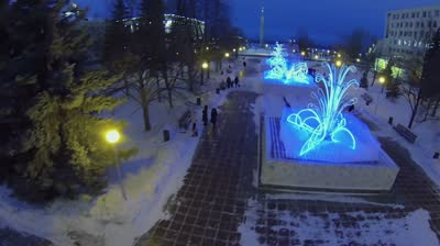 samara by square with shiny adornments at winter evening aerial