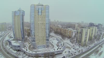 samara city traffic near dwelling complex rook at winter day aerial view