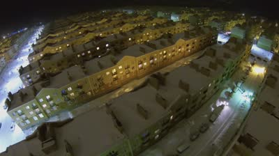 samara urban sector with identical houses of koshelev project at winter