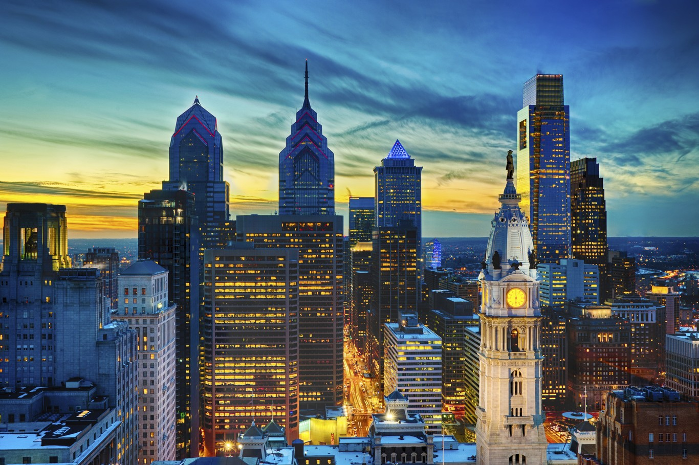 Philadelphia Night Skyline US