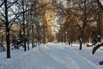winter snowy town park in samara russia